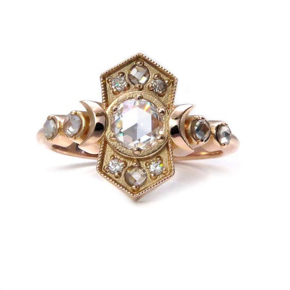 Old Soul Moissanite Moon Ring - Antique Styled Rose Gold Engagement Ring