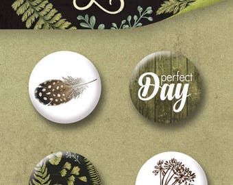 scrapbooking flair buttons Botany forest