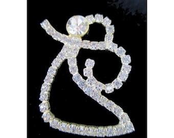 ANGEL PIN * White Rhinestones * Angel Jewelry