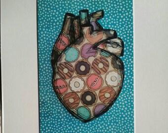 Donut heart print by Jennifer Korsen 8x10 including mat