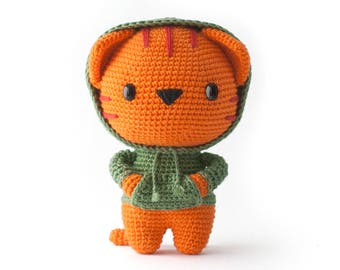 Milo the Hipster Cat Amigurumi pdf toy crochet pattern - DIY Fluffies