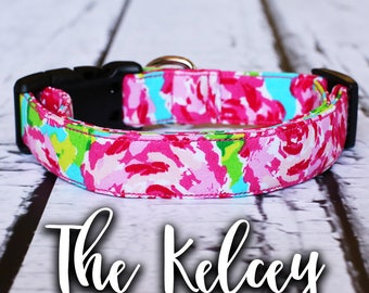 """Dog Collar-Lilly Pulitzer Inspired, Floral Dog Collar, Handmade Custom Dog Collar, Flower Dog Collar, """"The Kelcey"""""""
