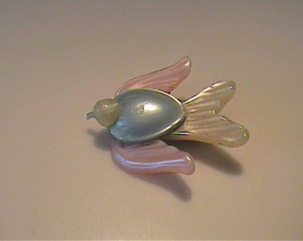 Vintage 1950's celluloid pink, blue & cream colored bird pin or brooch