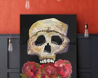 "Sugar Skull Calavera Day of the Dead Art Print from Original Painting ""Rosa"""