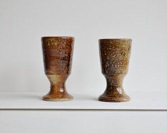 Vintage french salt glaze wine goblets.