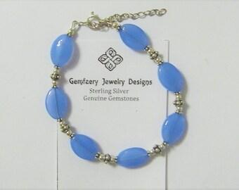 Sterling Silver Petite Natural Blue Chalcedony Gemstone Bracelet...Handmade USA