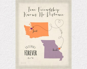 True Friendship Gift Print, Long Distance Gift for Best Friends, Custom Friend Gift Print, Moving Away Gift for Friends, Choose your Places