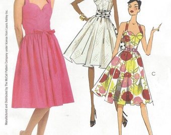 Laura Ashley Womens Bra Top Dress, Sash & Belt Flared Skirt OOP McCalls Sewing Pattern M5580 Size 4 6 8 10 12 Bust 29 1/2 to 34 UnCut