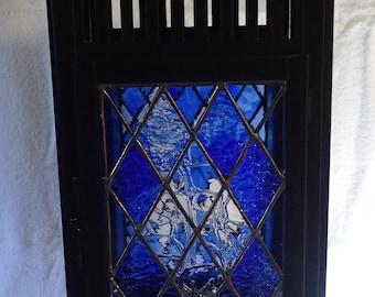 Large Blue Argyle Pattern Lantern