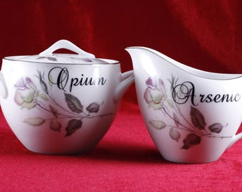ARSENIC and OPIUM Vintage Style House Sugar Bowl and Creamer Set, lavender/green rose  CUSTOMIZABLE