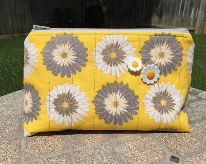 Sunflower Quilted Zipper Pouch