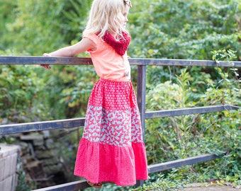 Girl's Maxi skirt - Maxi skirt - Toddler maxi skirt - Girls long skirt - boho maxi - boho skirt - bohemian skirt - Easter skirt- girls skirt