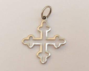 Nice Sterling Silver Cross Charm Pendant 1""