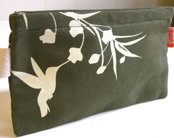 SALE Army Green Hummingbird with Eucalyptus Pouch