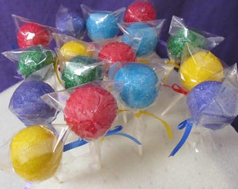 Cake Pops Colorful Chocolate dipped sugar coated 24