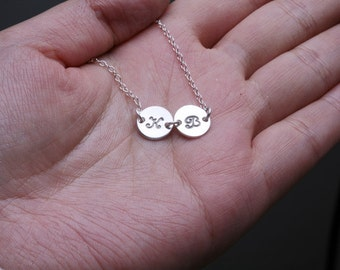Two initial letter charm,Tiny Initial Charm Sterling silver Necklace, simple daily jewelry, Birthday, Bridesmaid Necklaces