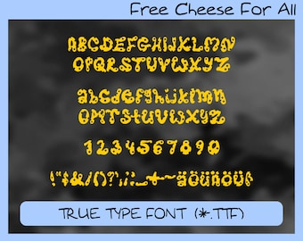 Free Cheese For All, true type handwritten font, ttf font, digital font, hand written font, personal and commercial use, instant download