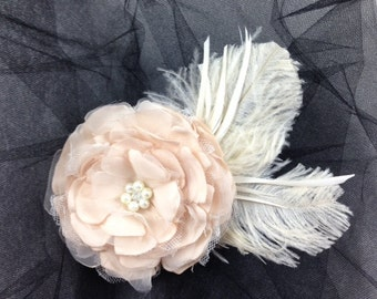 Classic Champagne Bridal Hair Flower-Feather Accent-Hand-Singed and Sewn Flower