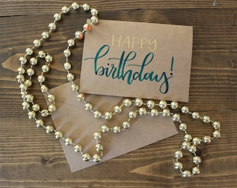 Happy Birthday Hand Lettered Card| Birthday Card| Modern Calligraphy Birthday Card