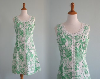60s Floral Shift - Vintage Green Floral Mod Dress - Classic 60s Shift Dress Green and White with Lace Trim - Vintage 1960s Dress M L