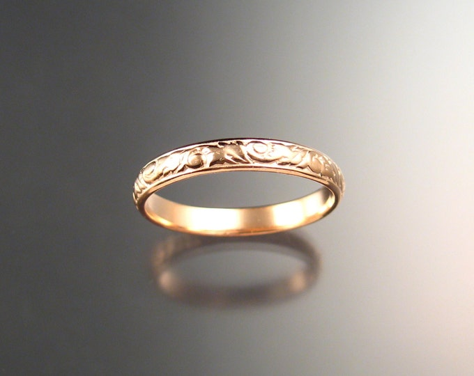 Stackable 14k rose Gold 3.25 mm Floral pattern Band Pink Gold wedding ring made to order in your size Victorian wedding band