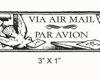 Bird With a Letter Via Air Mail - Correo Aereo - Par Avion Mail Art Rubber Stamp 214