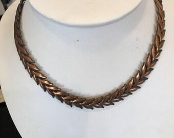 Vintage 1950's copper chevron choker