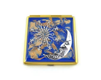 Art Nouveau Celestial Compact Mirror Inlaid in Hand Painted Enamel Cobalt Quartz Inspired with Color and Personalized Options Available