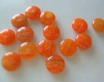 25 - Unusual Apricot Czech Glass Rondelles with striations