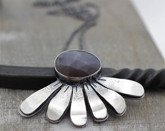 Chocolate Moonstone Necklace - Sterling Silver Floral Pendant - Gift for Her - Artisan Jewelry - Jewelry - Ooak