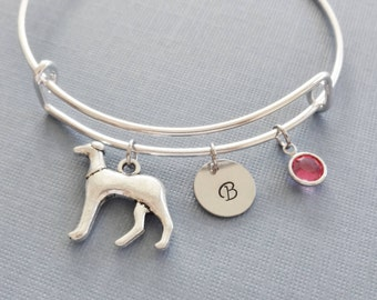 Greyhound Bracelet, Dog Bangle, Initial Bangle, Silver Bangle, Personalized, Expandable, Charm Bracelet, Swarovski Birthstone, BFF, Friend