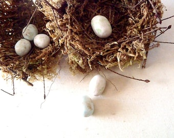 "Cottage Birds Nest Decor - 3"" Handmade Nests w/ White Eggs, Set of TWO"