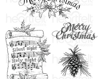 Heartfelt Creations Silent Night Scroll Cling Stamp Set HCPC-3833