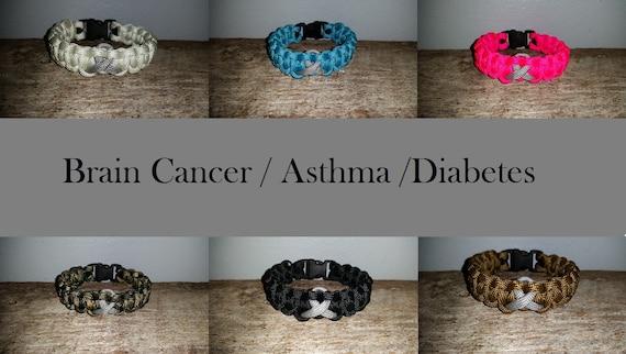 Brain Cancer / Asthma / Diabetes Awareness 550 paracord survival bracelet gray grey ribbon