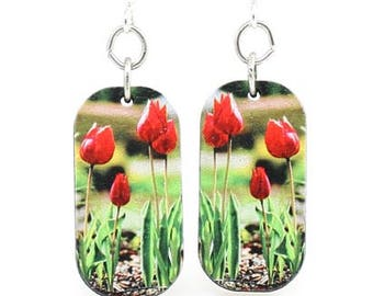 Tulips Blossoming - Wood Earrings