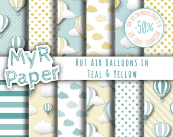 """Hot Air Balloons Digital Paper: """"Teal & Yellow"""" patterns for scrapbooking, invite, card – perfect for vintage project and baby shower"""