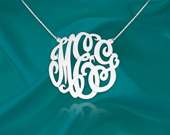 Monogram Necklace - 1 inch monogram necklace sterling silver - Custom Monogram - Personalized Monogram - Initial Necklace - Made in USA