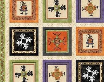 "SALE Halloween Quilt Panel - Maywood Studio Halloweenie Kaleidoscope 25"" Multi Panel - Cotton Fabric - Witches, Ghosts, Pumpkins - 44"" x 25"""