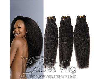Italian Yaki Hair Weft Unprocessed Human Hair Weaving Black Can be Dyed High Quality Hair for Women