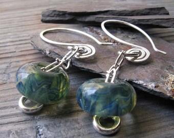 Boro glass bead earrings. Dangle lampwork with sterling silver jewelry. Ocean swirl. Blues & greens. Water lover gift for women. Swim.