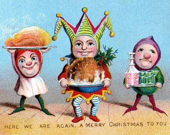 Victorian Christmas Card - Jesters with Plum Pudding Wine and Ham - Repro Vintage Style
