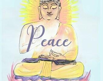 buddha art - zen art print - digital download - motivational art - spiritual art - yoga wall print - buddha gift - goddess art