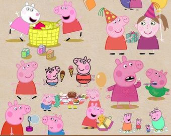 PEPPA PIG clipart png, peppa pig images, peppa pig printable, digital clipart, digital print, transparent backgrounds, cartoon clipart