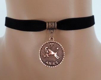 velvet choker, aries choker, aries necklace, stretch ribbon, black velvet, zodiac, copper tone