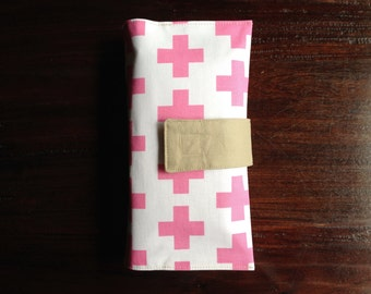 Diaper Clutch, Nappy Wallet, Pink and White Swiss Cross, Personalized, Monogram, Baby Shower Gift, Custom Baby Gift