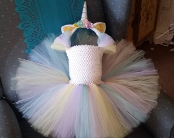 Birthday Pastel Yellow, Lavender, Pink and Blue Unicorn Costume Flower Girl Tutu Dress with Headband