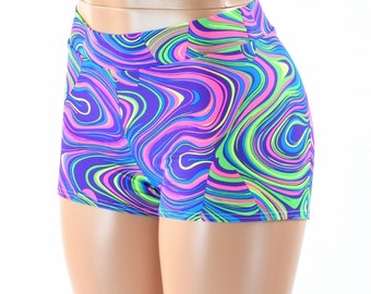 NEON UV Glow Worm Print Midrise Shorts Rave Festival Clubwear  152379