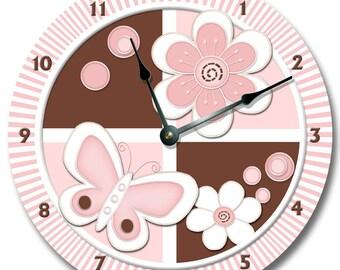 "PETALS Personalized WALL CLOCK - Nursery Clock - Large 10.5"" Wall Clock - Round Wall Clock - Kids Room - Birthday Gift - Bedroom Clock"