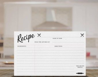 """Printable Recipe Cards - 3"""" x 5"""", 4"""" x 6"""", 5"""" x 8"""" - PDFs Provided"""