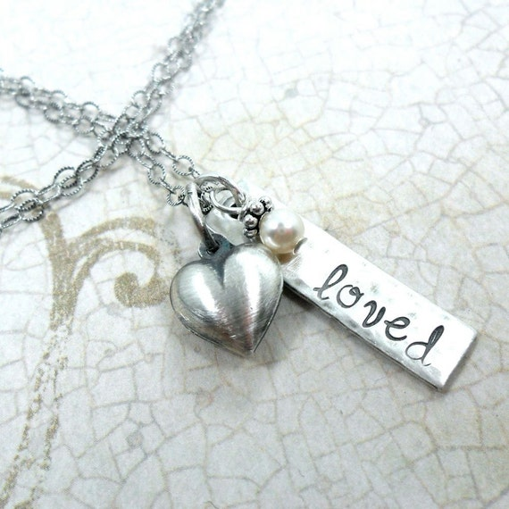 Charm Necklace | Sterling Silver Charm Necklace | You are loved | Loved Necklace | Heart Charm | Rustic Jewelry | Antiqued Jewelry
